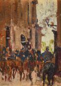 Alexander Jamieson (1873-1937) Scottish Cavalry, Paris Oil on panel, 16cm by 11.5cm Provenance: