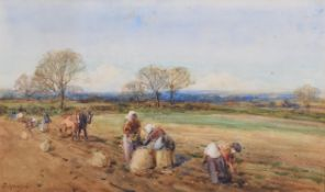 John Atkinson (1863-1924) Ploughing the field Signed, watercolour, 27cm by 45.5cm . Images of