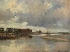 Bertram Priestman RA, ROI, NEAC, IS (1868-1951) Tranquil estuary scene Signed, oil on canvas, 44.5cm