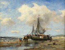 Johan Frederick Cornelis Scherrewitz (1886-1951) Dutch ''Low Tide, Scheveningen'' Signed, oil on