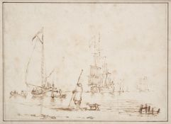 Attributed to Charles Brooking (1723-1759) Shipping vessels and figures in shallow waters Brown ink,