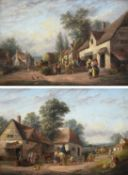 Attributed to Georgina Lara (fl.1862-1871) Village scene with figures Cart horse and figures outside