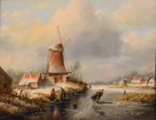 Manner of Andries Vermeulen (1763-1814) Winter landscape with skating figures Oil on panel, 22.5cm