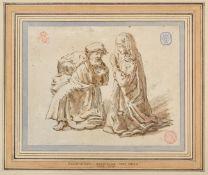 After Rembrandt van Rijn (1606-1669) Dutch A man and woman kneeling Mixed media, 11cm by 14cm