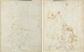 Italian School (17th century) Deposition of Christ Brown ink, with collector's mark, with a study of
