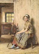 George Goodwin Kilburne RI, RBA (1839-1924) Spinner girl seated at her wheel in a cottage interior