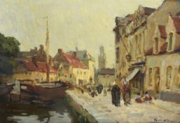 Terrick Williams RA, RI, ROI, RWA, RBC (1860-1936) ''A canal, Bruges'' Signed, signed and