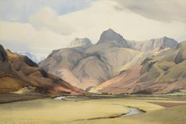 William Heaton Cooper RI (1903-1995) The Langdale Pikes Signed, pencil and watercolour, 36cm by 54c