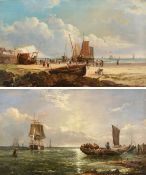 John James Wilson (1818-1875) Fisherfolk, beached vessels and lobster pots on a shore Fishing boat