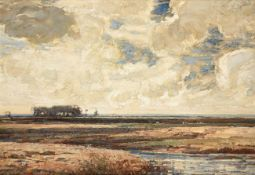 Kershaw Schofield (1875-1941) An extensive landscape with windmill and cattle grazing Signed, oil on
