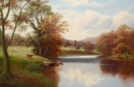 William Mellor (1851-1931) Cattle watering at Bolton Abbey Signed, oil on canvas, 49cm by 74.5cm