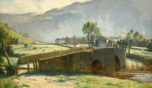 Bertram Priestman RA ROI NEAC IS (1868-1951) A view of Buckden Bridge with haymaking beyond Signed