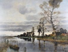 Karl Heffner (1849-1925) German An evening wetland scene, possibly Norfolk Signed, oil on canvas,