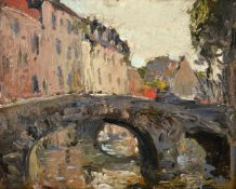 Alexander Jamieson (1873-1937) Scottish A bridge in Bruges Oil on panel, 13cm by 16.5cm