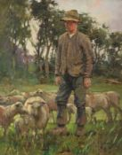 Francis Patrick Martin (1883-1966) Scottish Standing shepherd and his flock Signed, oil on canvas,