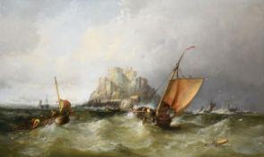 James Webb (1825-1895) 'View of Mont Orgueil Castle, Gorey, Jersey'' Signed, oil on canvas, 75cm