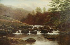 William Mellor (1851-1931) ''On the Rothay, Near Grasmere, Westmoreland'' Signed, oil on canvas,