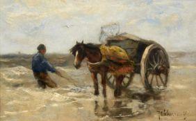 Johan Frederick Cornelis Scherrewitz (1886-1951) Dutch ''The Seaweed Gatherers'' Signed, oil on