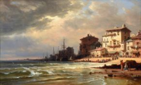 Charles Euphrasie Kuwasseg (1838-1904) French Continental coastal scene Signed and dated 1869, oil