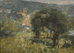 Mark Senior NPS (1864-1927) ''A bit of Runswick'' Signed and inscribed verso, oil on board, 15cm