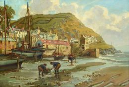 Hurst Balmford (1871-1950) ''East cliff, Polperro, Cornwall'' Signed, with signed and inscribed