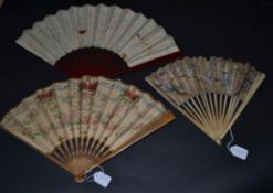 Royalty: Two Paper Fans from different decades, commencing with England Since The Conquest, a