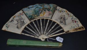 A Bright and Detailed Ivory Fan, circa 1780, the vellum leaf mounted à l'Anglaise and featuring