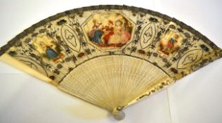 An 18th Century Painted Ivory Brisé Fan, the monture pierced quite simply to the gorge but