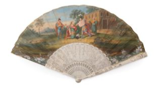 An 18th Century Ivory Fan, the skin leaf mounted à l'Anglaise and painted with a scene of a son