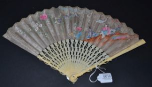 A Good 18th Century Ivory Fan with detailed and complex carving to the monture. Slender, the head