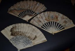 Three 18th Century Ivory Fans, to include an unusual example with recto/verso painted on vellum en