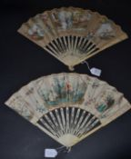An 18th Century Ivory Fan, the vellum leaf mounted à L'Anglaise, the upper guards carved with a