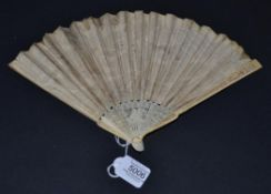 A Scarce, Small and Dainty Very Early 19th Century Fan, the ivory monture slender and with