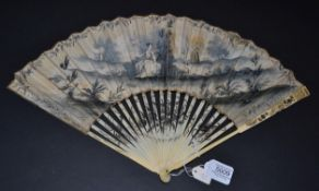 A Circa 1730 Ivory Fan, the vellum leaf a l'Anglaise and painted in gouache en grisaille, showing