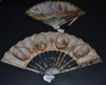 A Good Mid-18th Century Ivory Fan, the monture of white mother-of-pearl, silvered and gilded. The