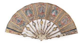 Portraits: A Fine Mid-18th Century Ivory Fan with elaborately shaped monture, designed to coordinate