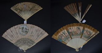 Chinoiserie in the 18th Century: Four 18th Century Fans, the first being early and elaborately