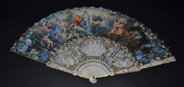 A Fine Late 18th Century Ivory Fan with painted leaf, the monture elaborately carved. The guards,