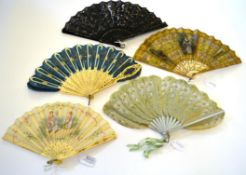 Five Fans, two with sequins and two in Palmette or Jenny Lind form. To include a fine circa 1900-