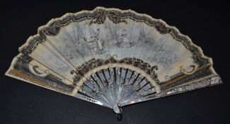 An Early 20th Century White Mother-of-Pearl Fan, the leaf with cream background net, overlaid with