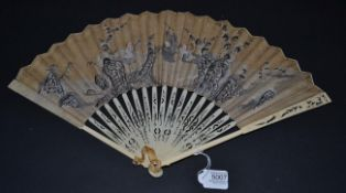 A Mid-18th Century Ivory Fan, the upper guards carved and pierced with a bird amidst foliage, the