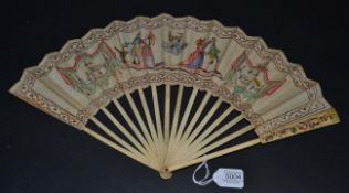 An Unusual French Revolutionary Period Riddle Fan, the monture of bone, with some light carving