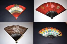 Japan: A Bone Fan with double paper leaf, the recto painted with a spray of pastel blooms in full