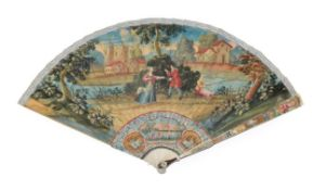 A Late 18th Century Ivory Brisé Fan, painted to the recto with a colourful depiction of Moses,