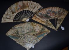 A Mid-18th Century Ivory Fan, the velum leaf mounted à l'Anglaise and colourfully painted with