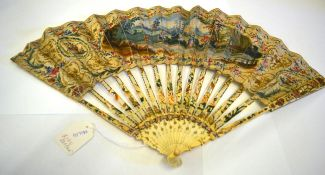 A Mid-18th Century Ivory Fan, the monture carved, pierced and painted in strong colours, to match