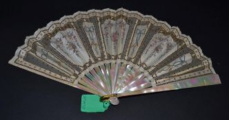 A Very Pretty Early 20th Century Mother-of-Pearl Fan, in shades of green and pink (burgau), the leaf
