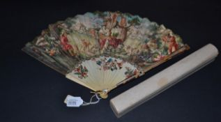 An Interesting Mid-18th Century Ivory and Tortoiseshell Fan, the gorge sticks in ivory with