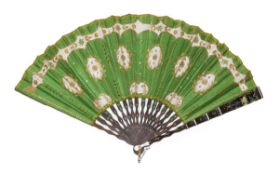 A Lime Green Silk Fan, circa 1900, with net insertions and sequins embroidered throughout, mounted