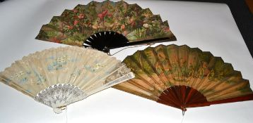Three 19th and 20th Century Fans, to include: A large fan with fabric leaf mounted on plain